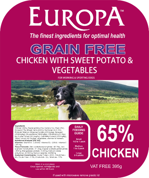 Picture of Europa Grain Free Chicken, Sweet Potato & Vegetables 395g Tray