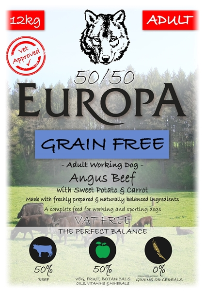 Picture of SPECIAL OFFER - Europa 50/50 Grain Free Angus Beef, Carrot & Sweet Potato 12kg x 2