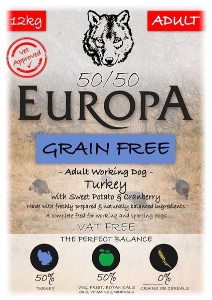 Picture of Europa 50/50 Grain Free Turkey, Sweet Potato & Cranberry 2 x 12kg  SPECIAL OFFER