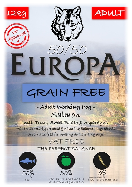 Picture of MONTHLY SUBSCRIPTION 30 DAYS - 50/50 Europa Grain Free Salmon, Trout & Sweet Potato 12kg